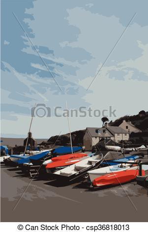 Vector Clip Art of Boats at Cwm Yr Eglwys, Pembrokeshire, Wales.
