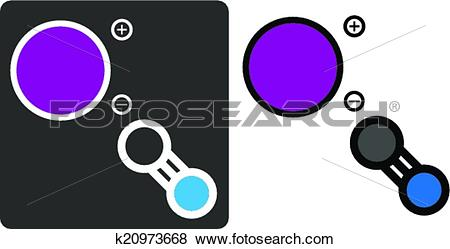 Clip Art of Potassium cyanide (KCN) poison, flat icon style. Atoms.