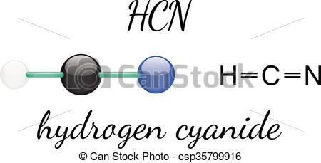 Vector Clip Art of HCN hydrogen cyanide molecule.