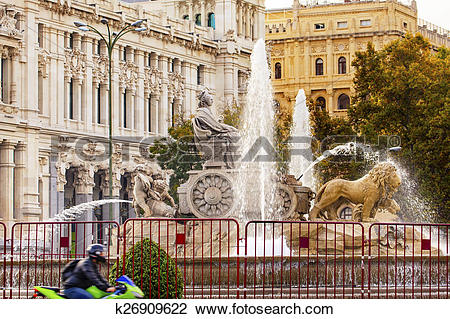Stock Photo of Cybele Chariot Lions Statue Fountain Plaza de.
