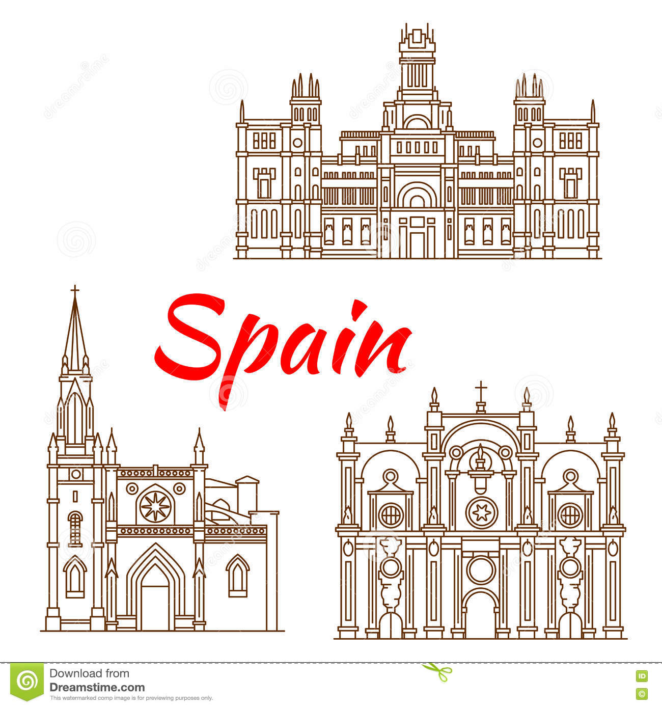 Thin Line Icons Of Spanish Landmarks Stock Vector.