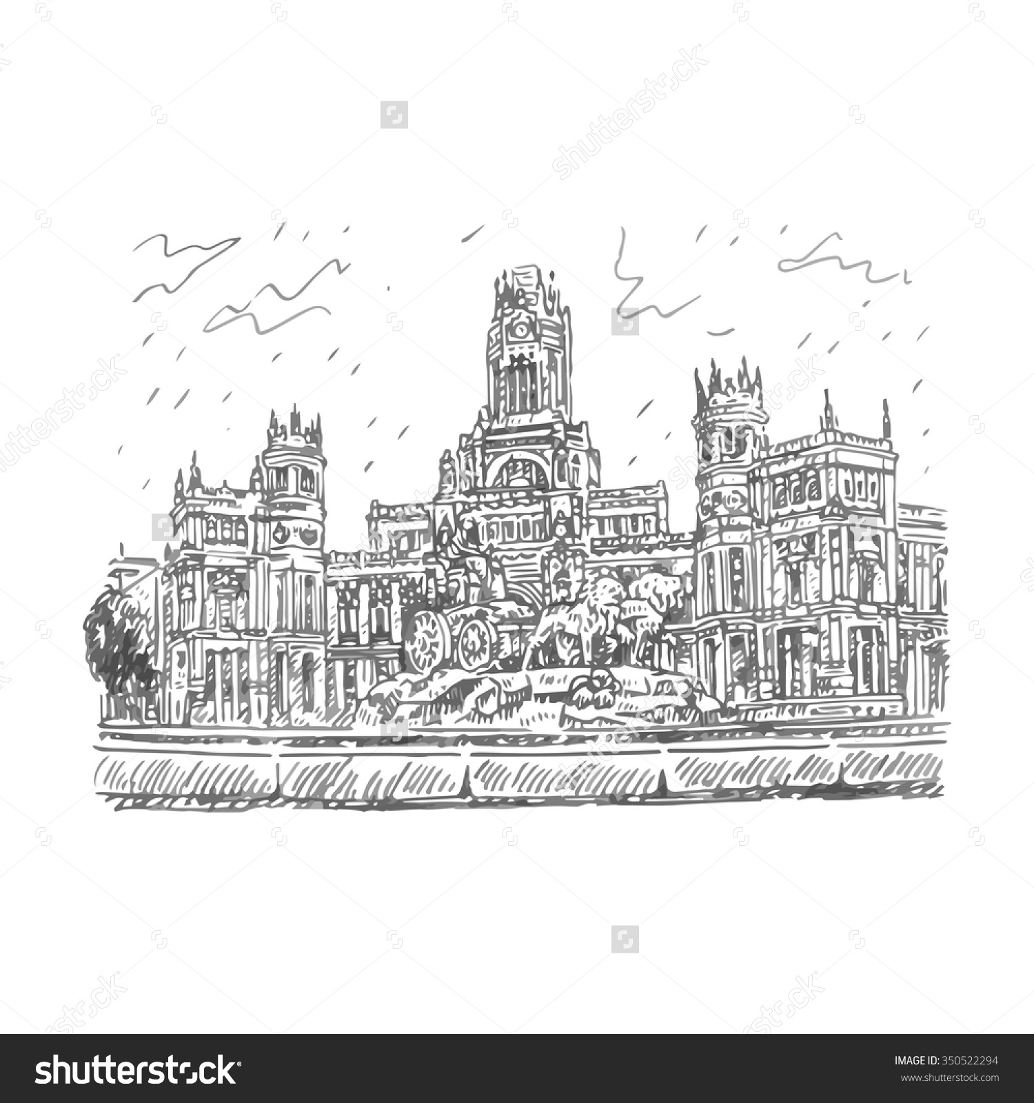 Cybele Palace Fountain Plaza Cibeles Madrid Stock Vector 350522294.