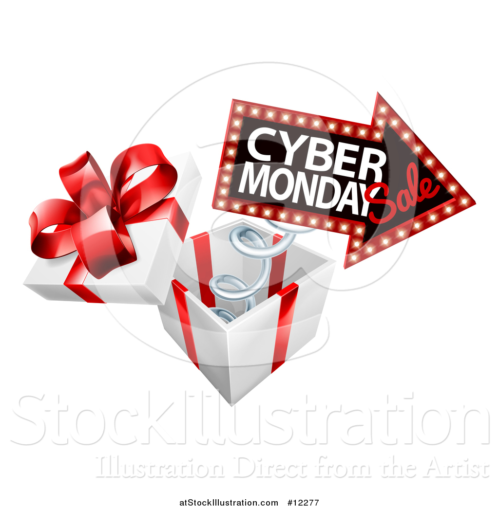 Vector Illustration of a Gift Box with a Cyber Monday Sale Sign by.