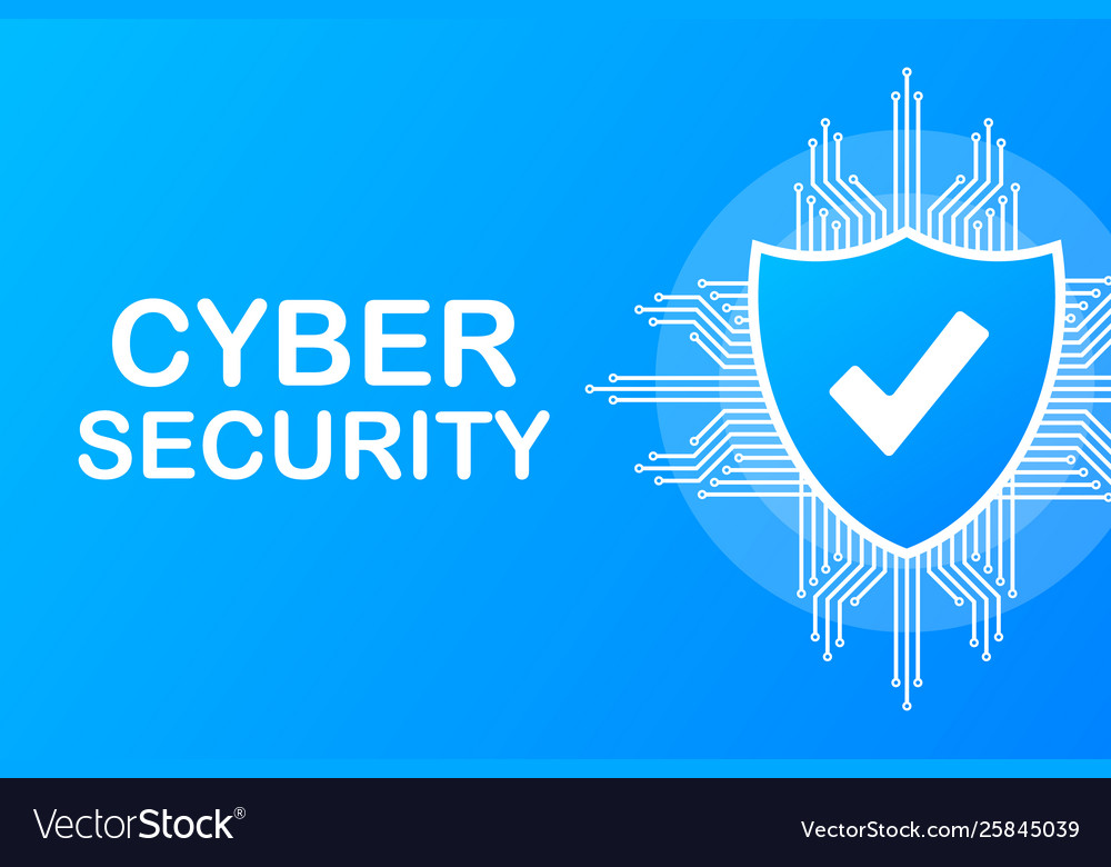 Cyber security logo with shield and check mark.
