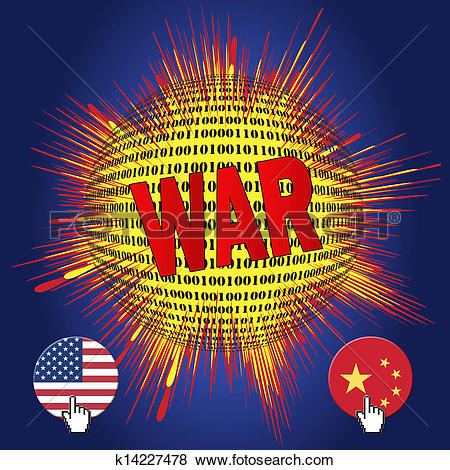 Stock Illustration of Cyberwar between USA and China k14227478.