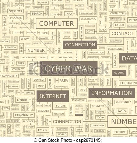 Clipart Vector of CYBER WAR. Word cloud illustration. Tag cloud.