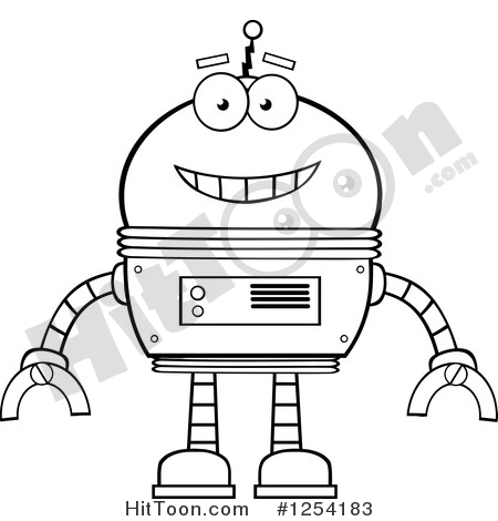 free robot clipart black and white #6