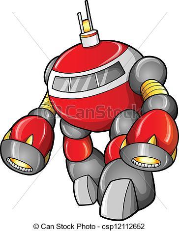 Vector Clip Art of Massive Warrior Robot Cyborg Soldier Vector.