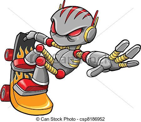 Vector Illustration of Cyborg Robot Skateboarder Vector Art.