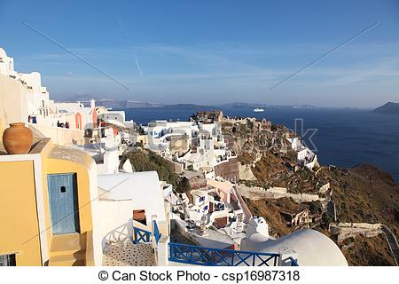 Clipart of Oia on Santorini island in the Cyclades (Greece.