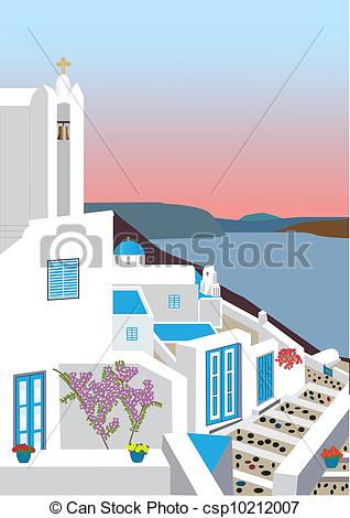 Vector Clipart of Greek Island Village.