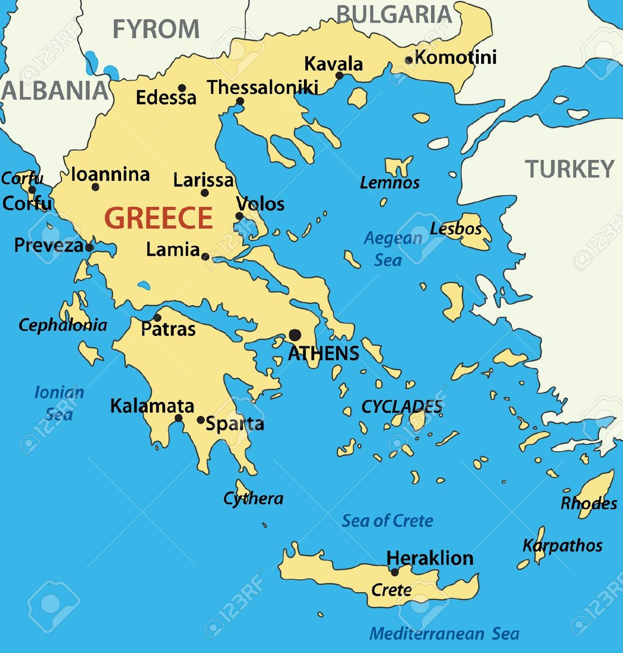 Map of greece clipart.
