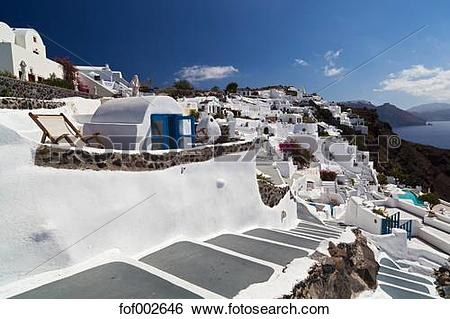 Stock Images of Greece, Cyclades, Thira, Santorini, Oia, View of.