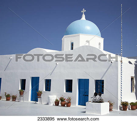 Stock Image of Cycladic church in traditional Santorini blue.