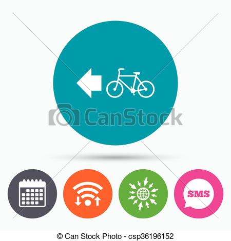Clipart Vector of Bicycle path trail sign icon. Cycle path..