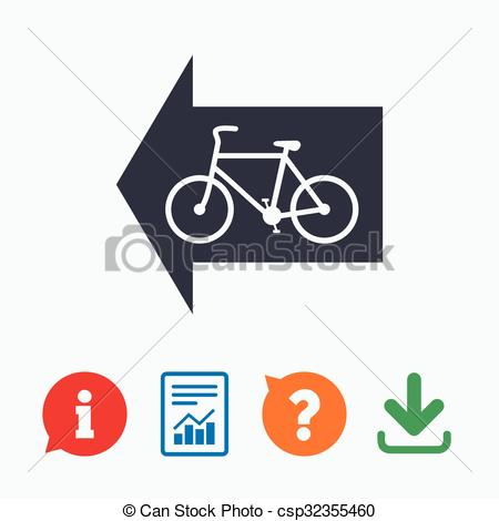 Clip Art Vector of Bicycle path trail sign icon. Cycle path. Left.
