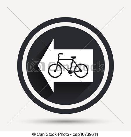 EPS Vector of Bicycle path trail sign icon. Cycle path. Left arrow.