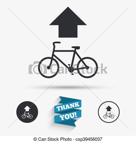 Vectors of Bicycle path trail sign icon. Cycle path. Up straight.
