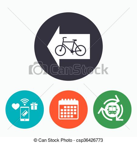 Vectors Illustration of Bicycle path trail sign icon. Cycle path.
