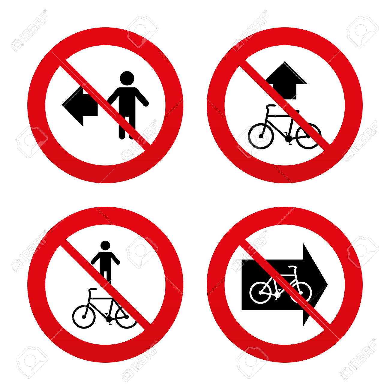 No, Ban Or Stop Signs. Pedestrian Road Icon. Bicycle Path Trail.