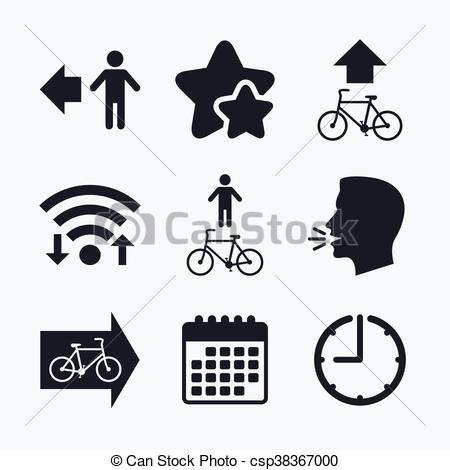 Vector Clipart of Pedestrian road icon. Bicycle path trail sign.