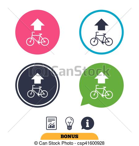 Vector Illustration of Bicycle path trail sign icon. Cycle path.