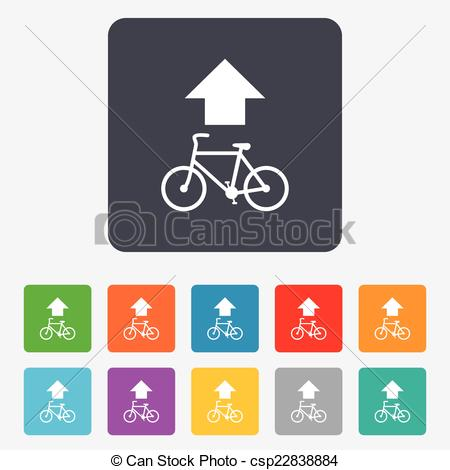 Vector of Bicycle path trail sign icon. Cycle path. Up straight.
