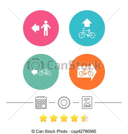 Clip Art Vector of Pedestrian road icon. Bicycle path trail sign.