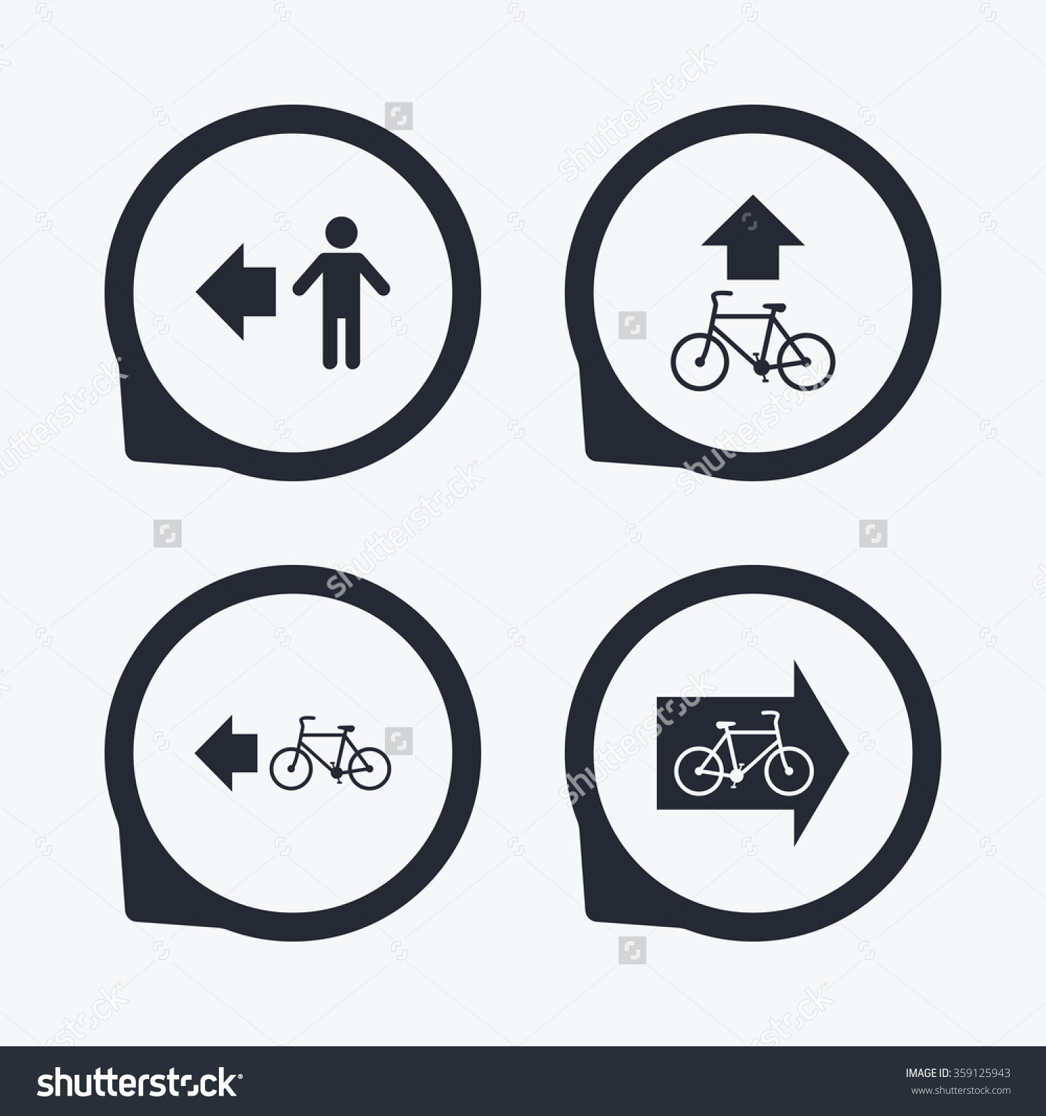 Pedestrian Road Icon Bicycle Path Trail Stock Vector 359125943.