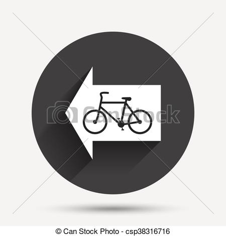 Vector Clip Art of Bicycle path trail sign icon. Cycle path. Left.