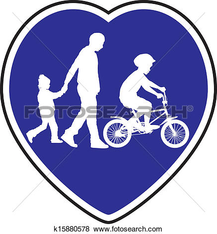 Clip Art of Pedestrian Trail and Cycle path k15880578.