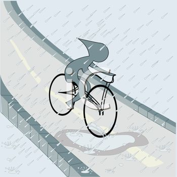 Clip Art Illustration of a Boy Cycling in the Rain.