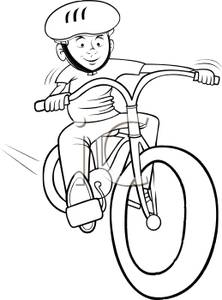 Black and White Cartoon of a Boy Riding a Bicycle.