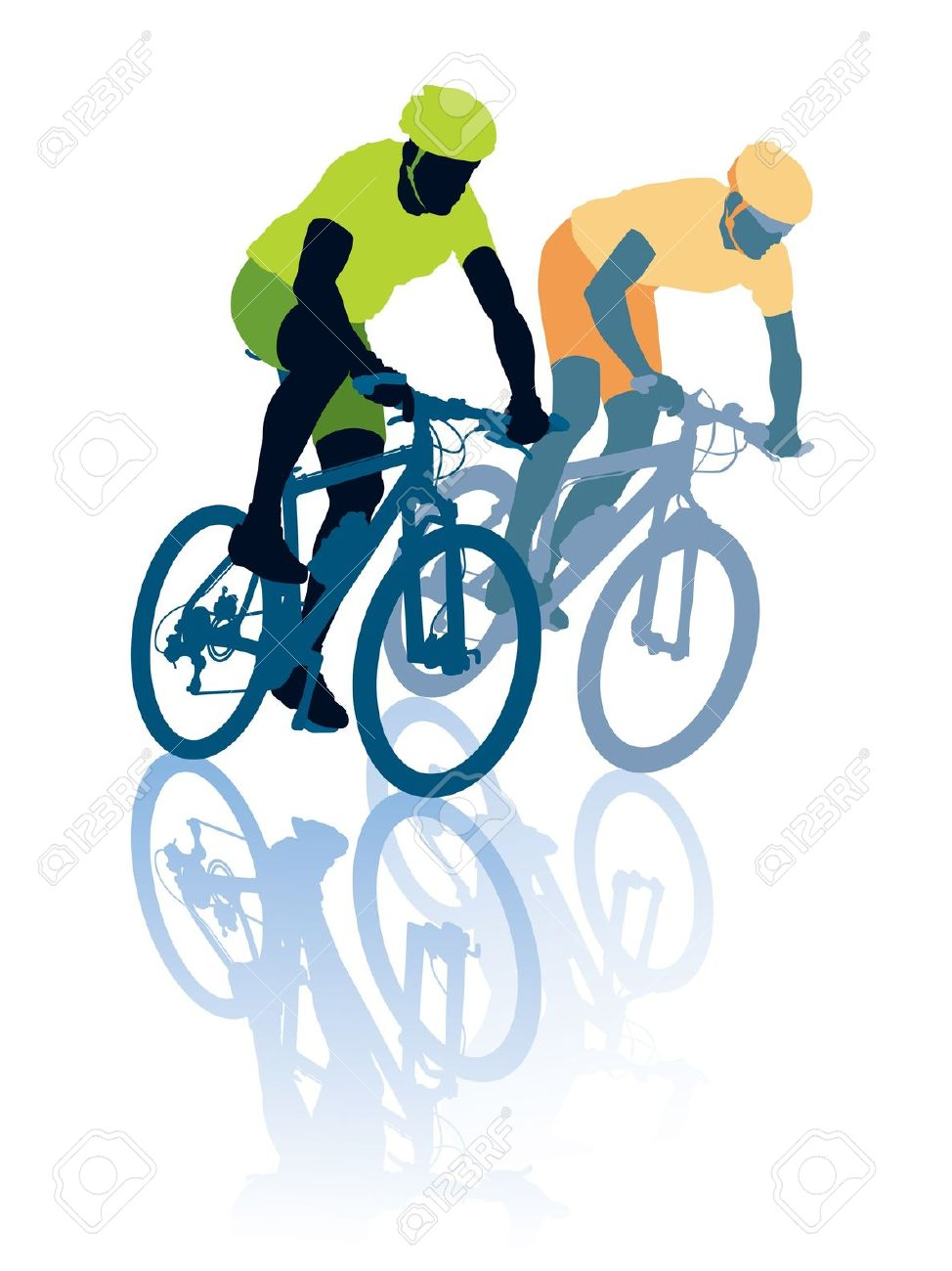 Two Cyclists In The Bicycle Race. Sport Illustration. Royalty Free.