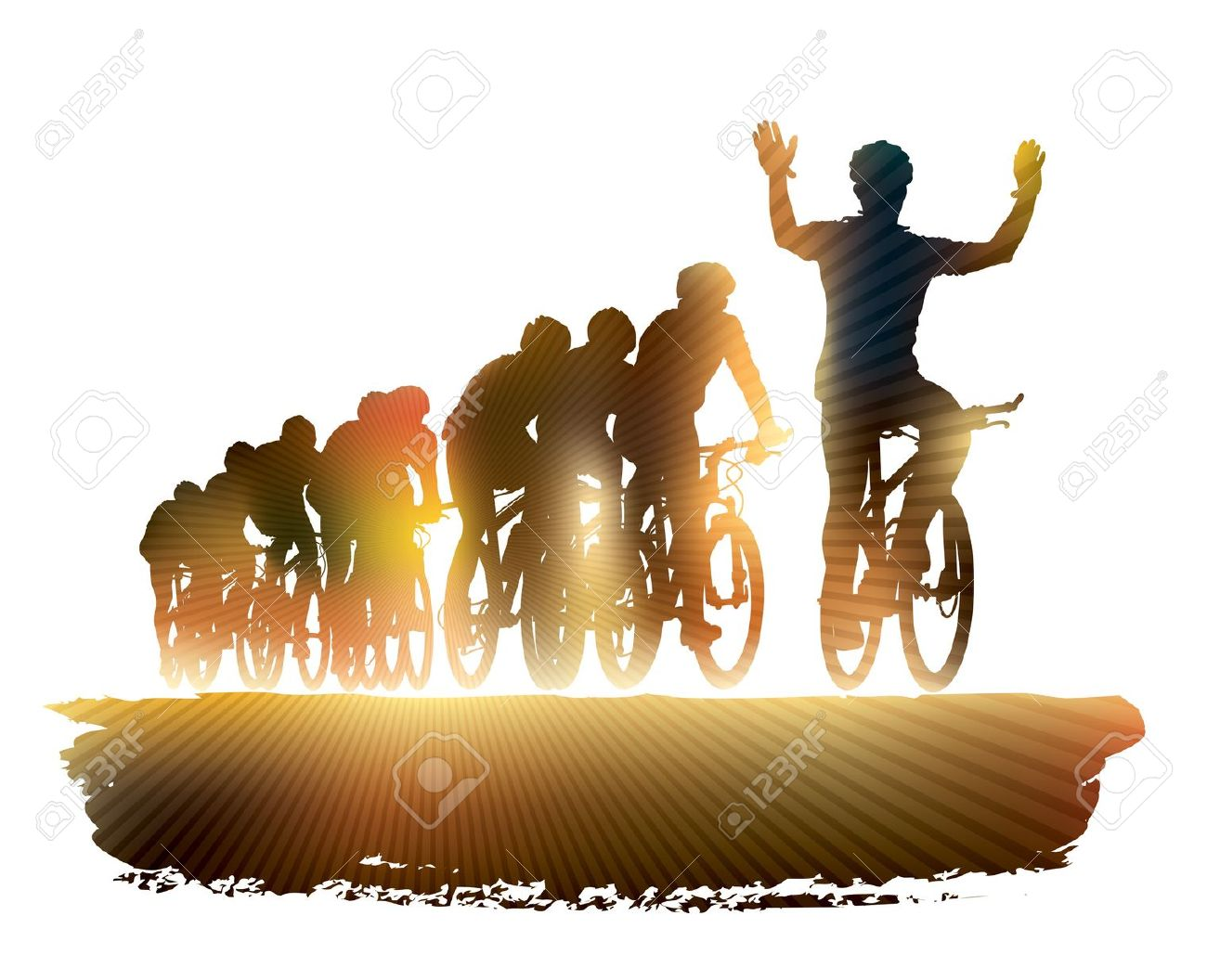 Group Of Cyclist In The Bicycle Race. Sport Illustration. Royalty.