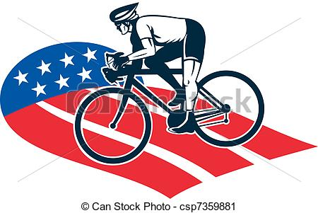 Clipart of Cyclist riding racing bike star and stripes flag.