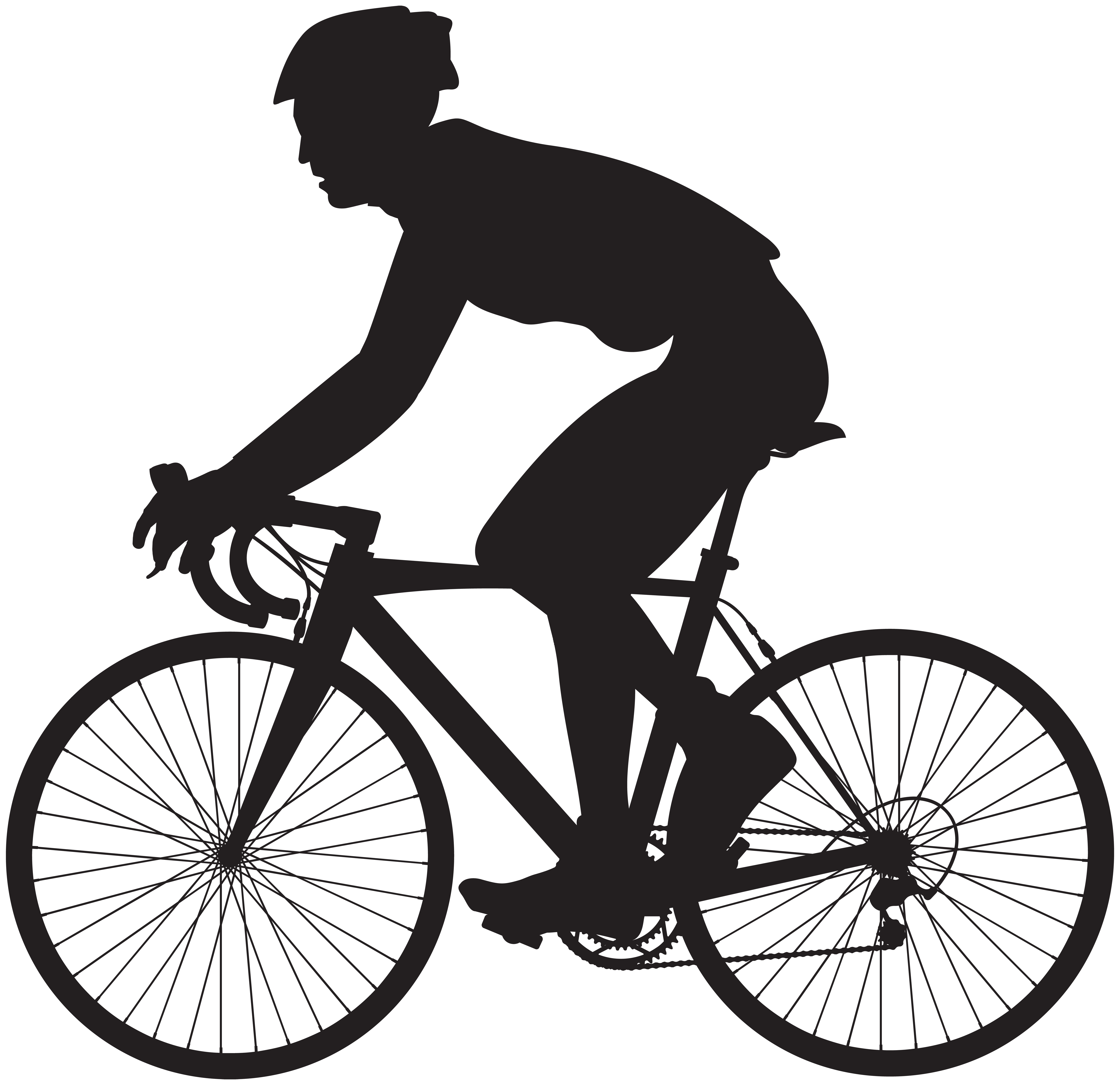 Cyclist Silhouette PNG Clip Art Image.