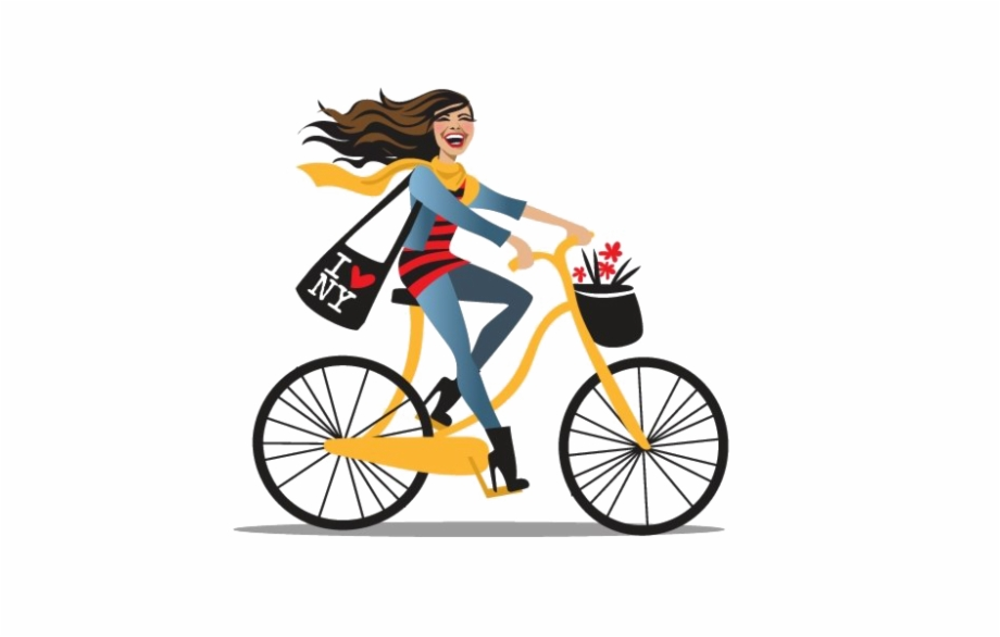 Girl Cycling Png Clipart Background.