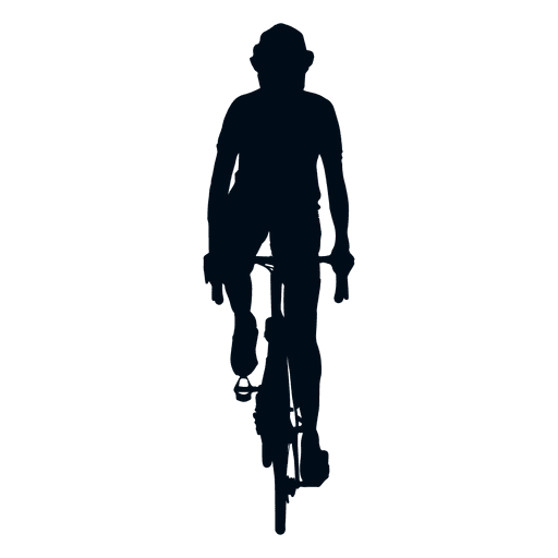 Cyclist silhouette front view.