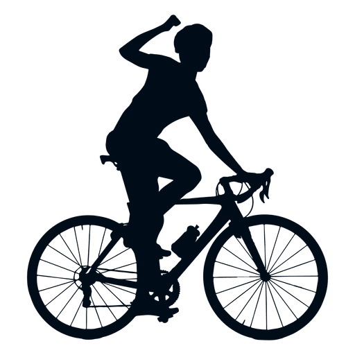 Cycling winner silhouette.