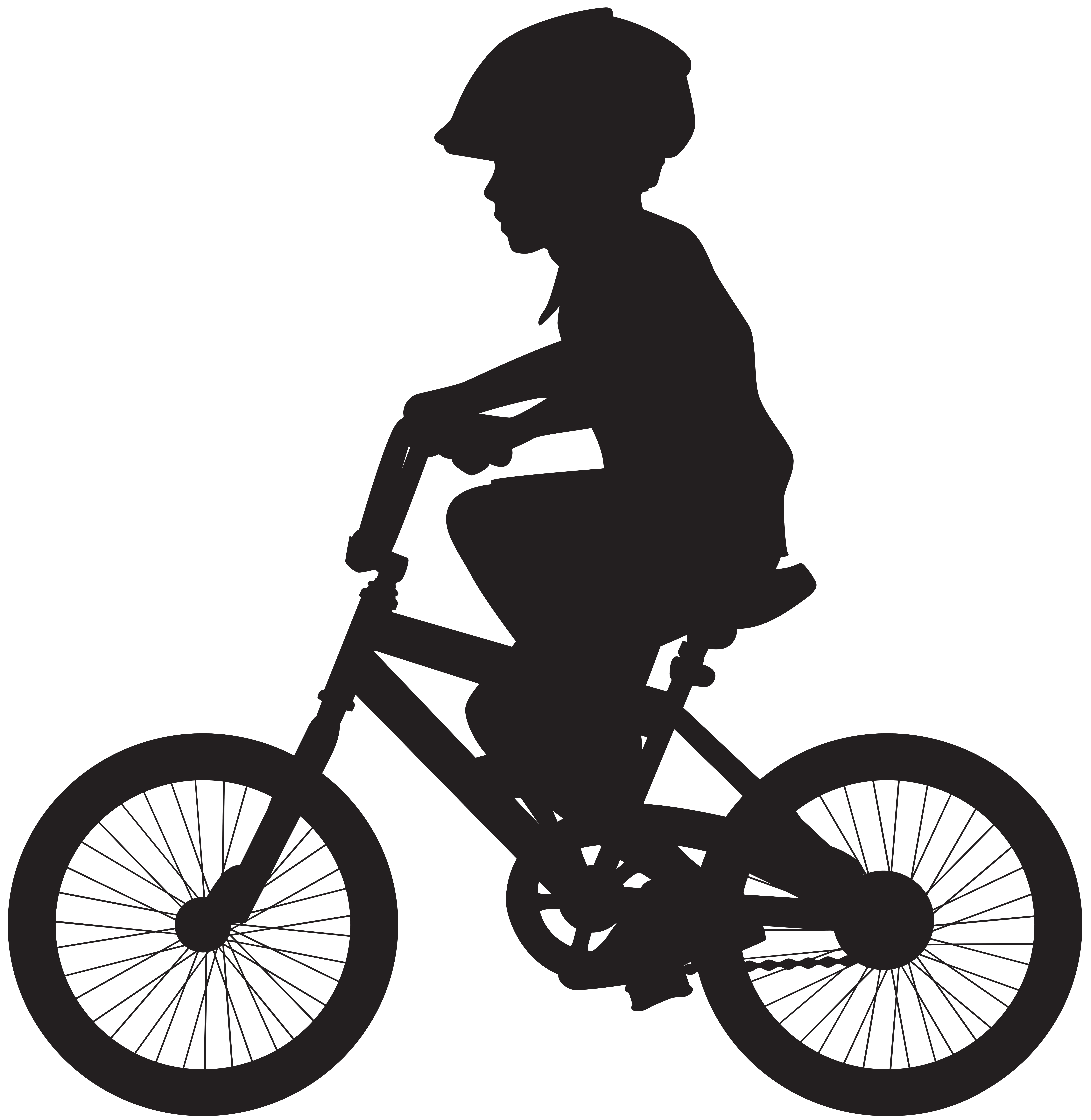Cycling Boy Silhouette PNG Clip Art Image.