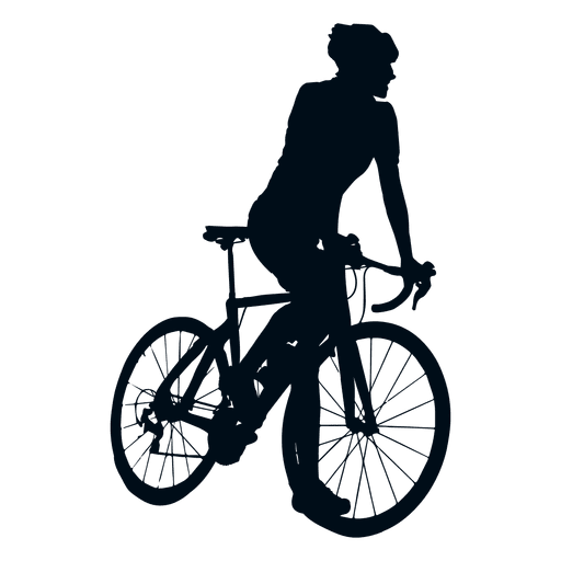 Cyclist climbing silhouette.