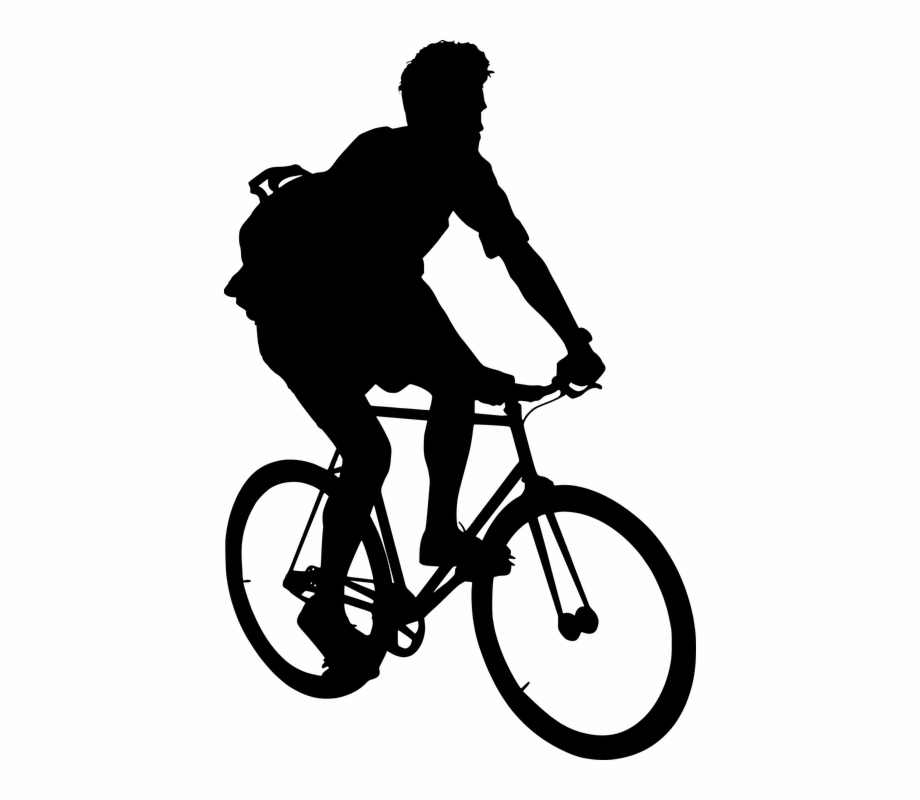 Free Photo Active Man Cyclist Seated Bike Silhouette.