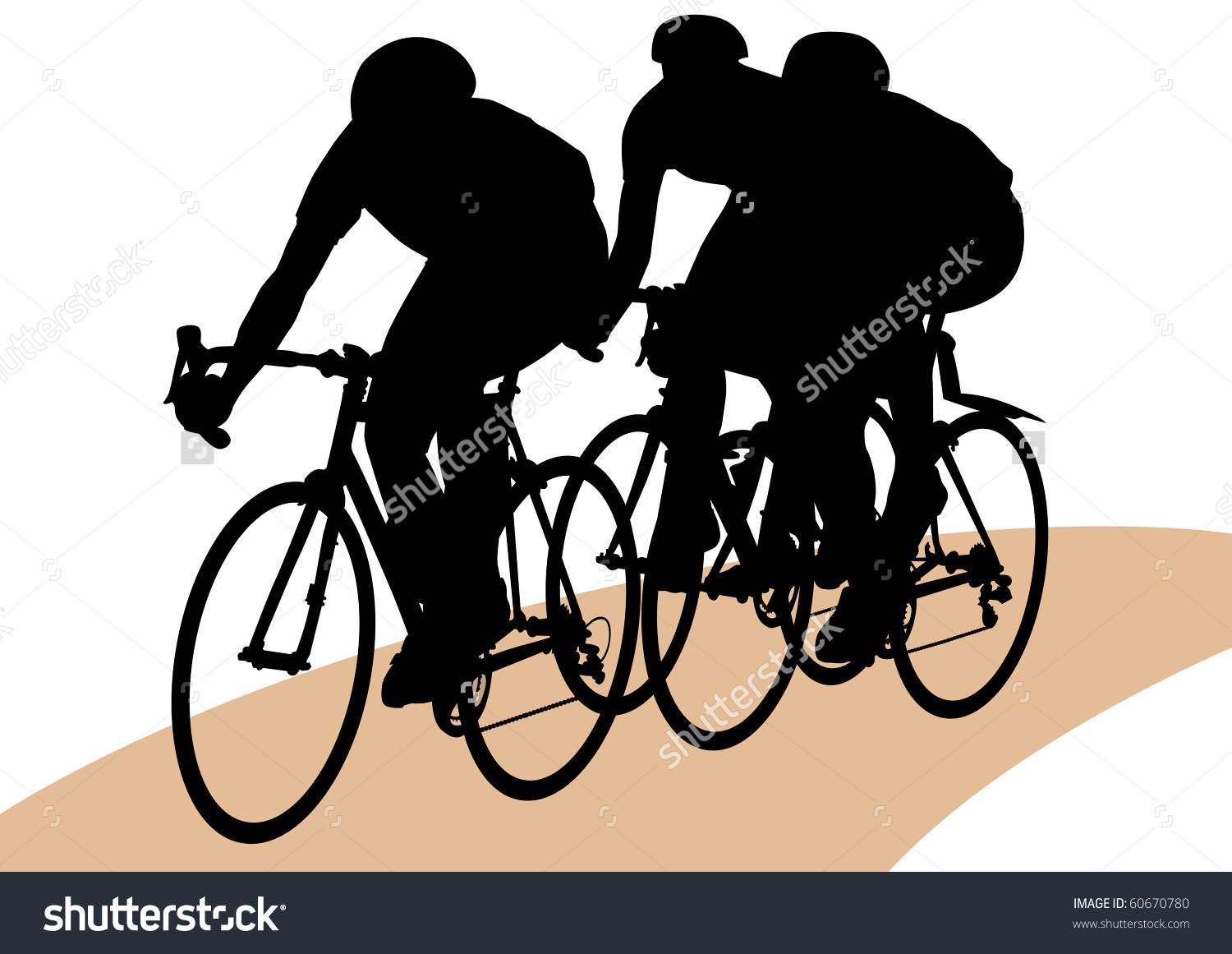 Vector Drawing Bicycle Races Silhouette People Stock Vector.