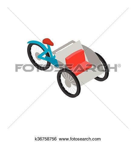 Clip Art of Vietnamese cyclo icon, isometric 3d style k36758756.