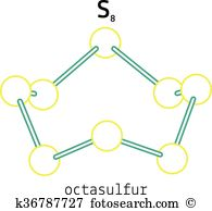 Cyclo octasulphur Clipart and Illustration. 2 cyclo octasulphur.
