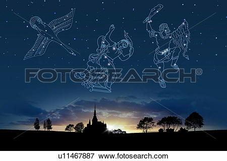 Picture of Image of Astrology signs, (Cygnus, Cassiopeia, Orion.
