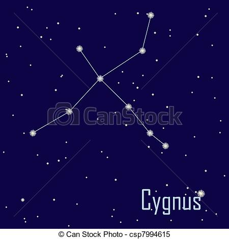 "Clip Art Vector of The constellation "" Cygnus"" star in the night."