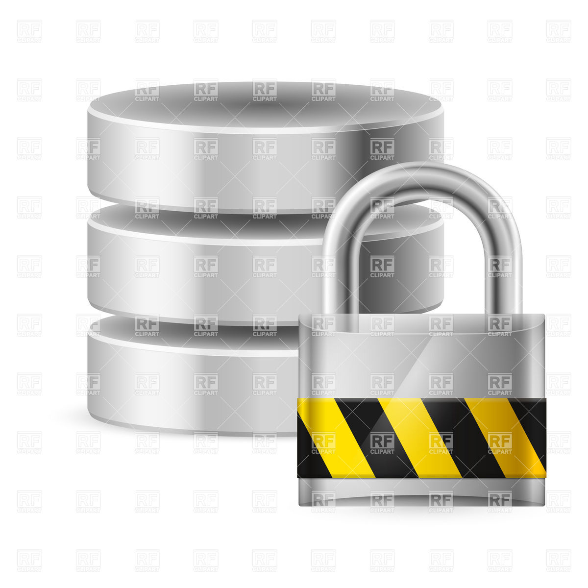 Database cylinder icon with padlock Vector Image #9513.