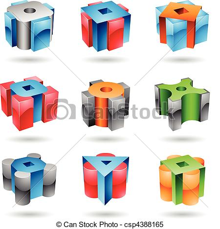 Clipart Vector of Cubic and cylindrical metallic glossy shapes.